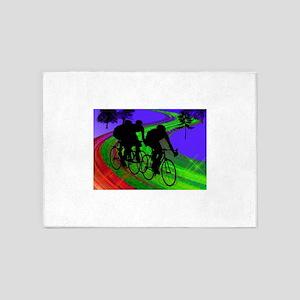 Cycling Trio on Ribbon Road 5'x7'Area Rug