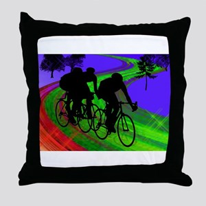 Cycling Trio on Ribbon Road Throw Pillow