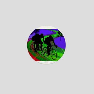 Cycling Trio on Ribbon Road Mini Button