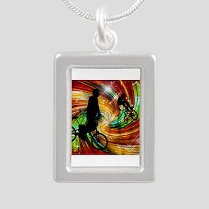 BMXers in Red and Orange Grunge Swirls Necklaces