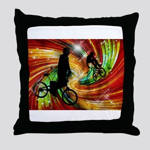 BMXers in Red and Orange Grunge Swirl Throw Pillow