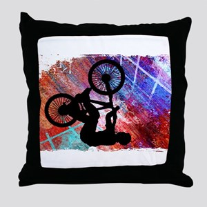 BMX on Rusty Grunge with Edges Throw Pillow