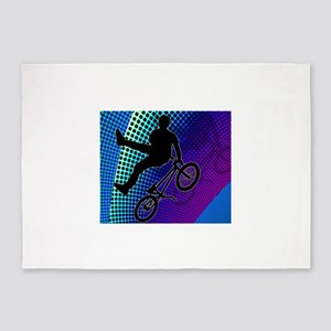 BMX in Fractal Movie Marquee 5'x7'Area Rug