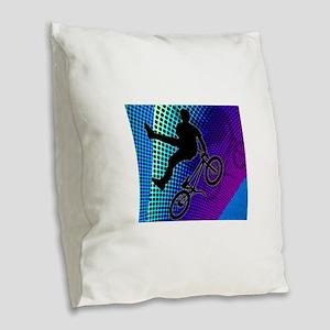 BMX in Fractal Movie Marquee.p Burlap Throw Pillow