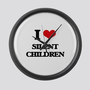 I Love Silent Children Large Wall Clock