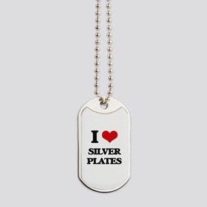 I Love Silver Plates Dog Tags