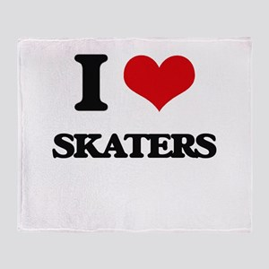 I Love Skaters Throw Blanket