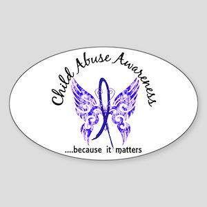 Child Abuse Butterfly 6.1 Sticker (Oval)