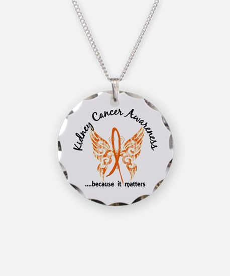 Kidney Cancer Butterfly 6.1 Necklace