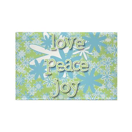 Love Peace Joy Retro Rectangle Magnet (10 pack)