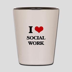 I love Social Work Shot Glass