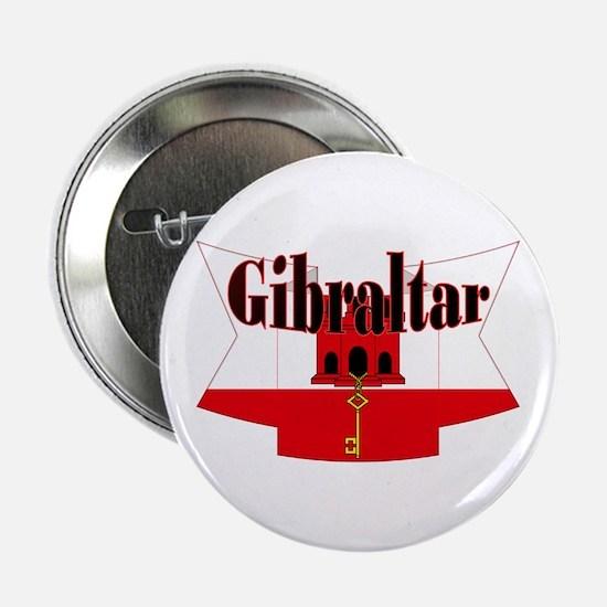 """Gibraltar Flag Ribbon 2.25"""" Button"""