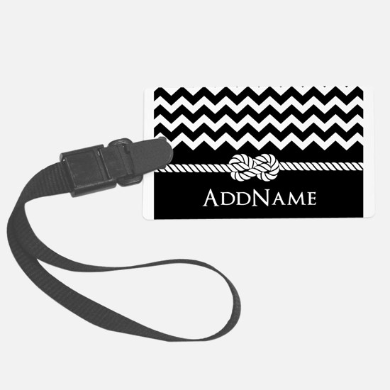 Black and White Chevron with Custom Monogram Lugga