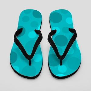Cyan Light Dark Modern Dots Blue Backgr Flip Flops