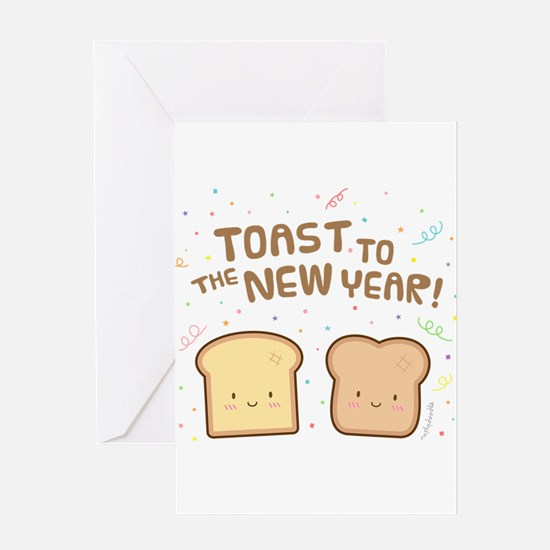 Cute Toast to the New Year Pun Humor Confetti Gree