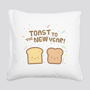 Cute Toast to the New Year Pun Humor Confetti Squa