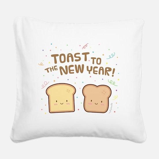 Cute Toast to the New Year Pun Humor Confetti Squa