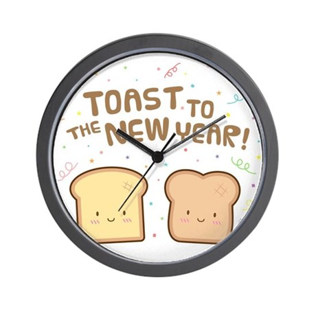 Cute Toast to the New Year Pun Humor Confetti Wall by RustyDoodleStore