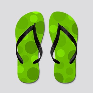 Green Lime Green Light Dark Modern Dots Flip Flops
