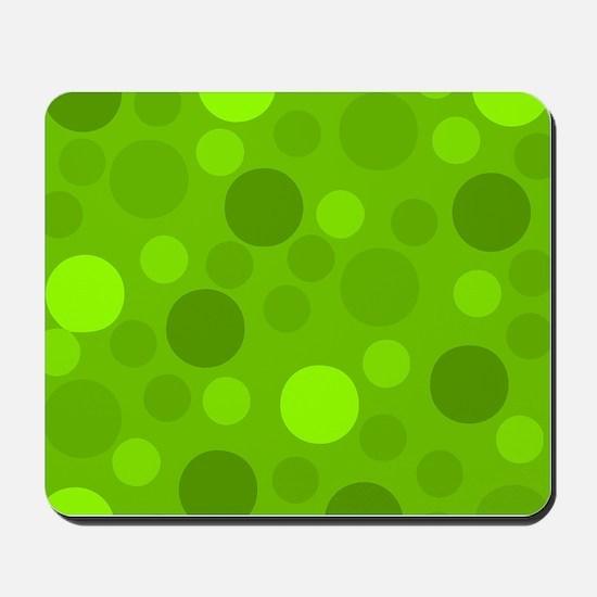 Green Lime Green Light Dark Modern Dots Mousepad