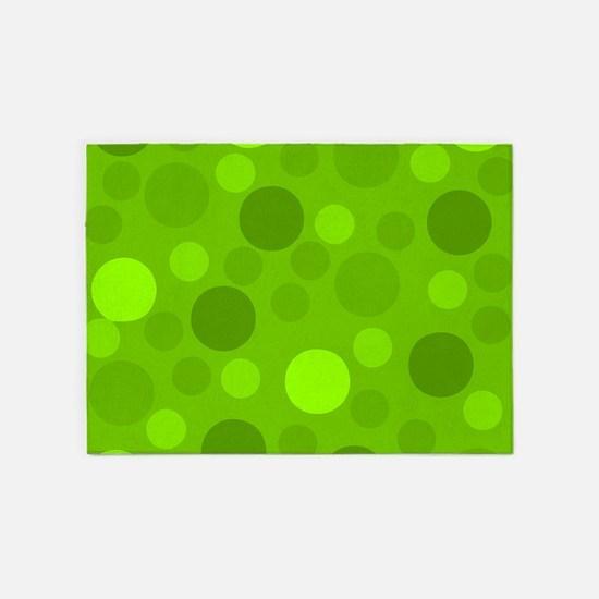 Green Lime Green Light Dark Modern 5'x7'Area Rug