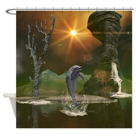 Dolphin jumping in a mystical ocean Shower Curtain by Fantasyworld7