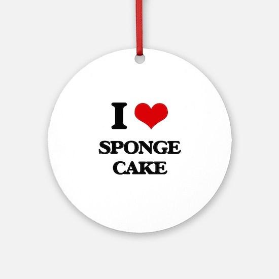 I love Sponge Cake Ornament (Round)