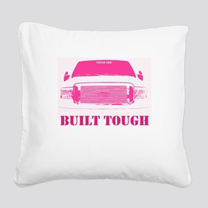 Pink Built Tough Square Canvas Pillow