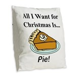 Christmas Pie Burlap Throw Pillow