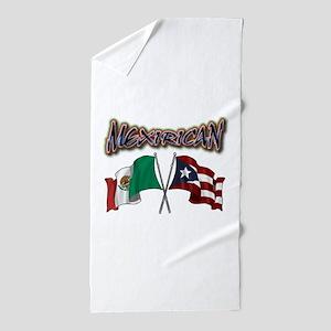 MexiRican Flags centered Beach Towel