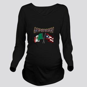 MexiRican Flags centered Long Sleeve Maternity T-S