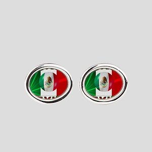 Mexico-flag3 Oval Cufflinks