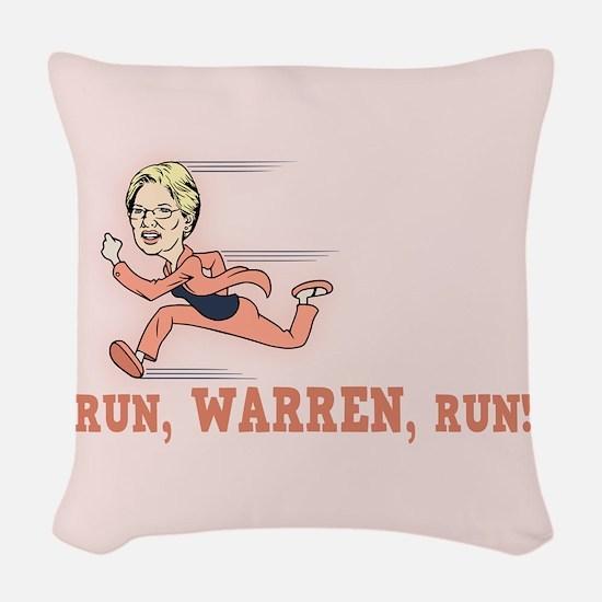 Run, Warren, Run! Woven Throw Pillow
