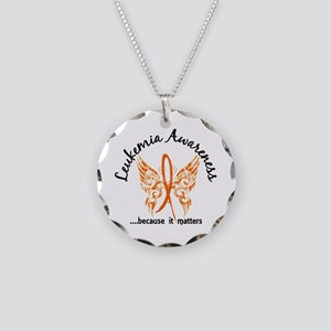 Leukemia Butterfly 6.1 Necklace Circle Charm