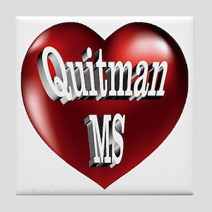 Quitman, MS Heart Tile Coaster