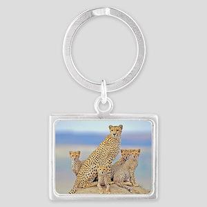 Cheetah Family Landscape Keychain