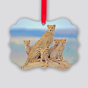 Cheetah Family Picture Ornament
