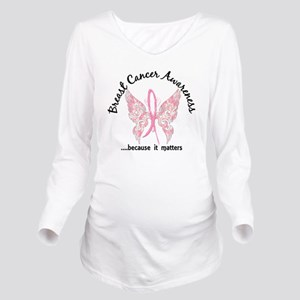 Breast Cancer Butter Long Sleeve Maternity T-Shirt