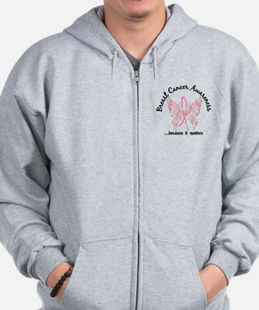 Breast Cancer Butterfly 6.1 Zip Hoodie