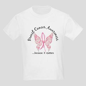 Breast Cancer Butterfly 6.1 Kids Light T-Shirt