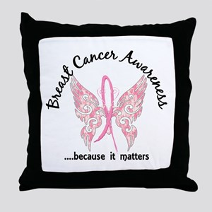 Breast Cancer Butterfly 6.1 Throw Pillow