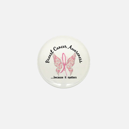 Breast Cancer Butterfly 6.1 Mini Button