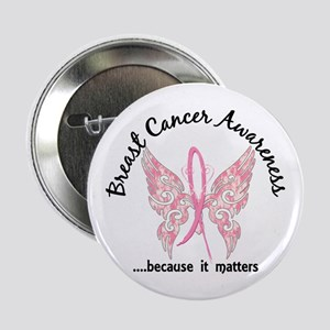 """Breast Cancer Butterfly 6.1 2.25"""" Button"""