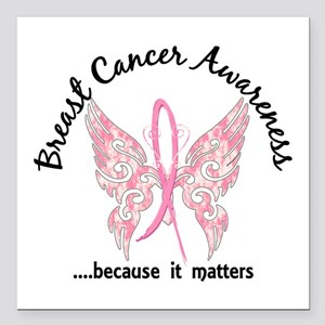 "Breast Cancer Butterfly Square Car Magnet 3"" x 3"""