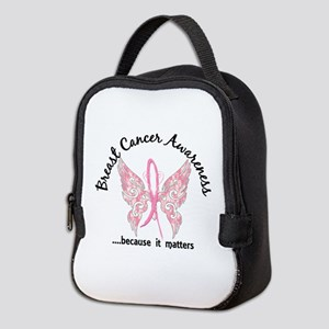 Breast Cancer Butterfly 6.1 Neoprene Lunch Bag