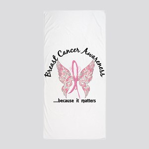 Breast Cancer Butterfly 6.1 Beach Towel