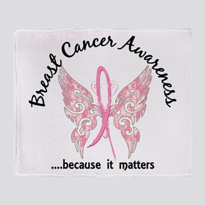 Breast Cancer Butterfly 6.1 Throw Blanket