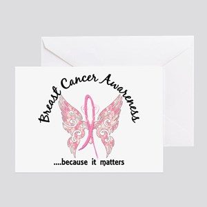 Breast Cancer Butterfly 6.1 Greeting Card