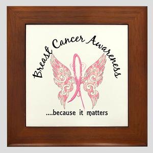 Breast Cancer Butterfly 6.1 Framed Tile