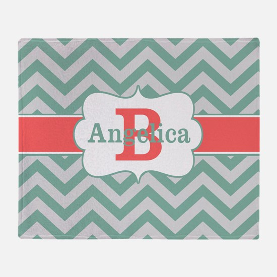 Mint Coral Chevron Personalized Throw Blanket